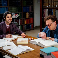 Raj and Leonard working in the library.