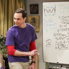 Sheldon teaching Penny some string theory.