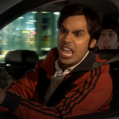 Raj driving like he is in India.