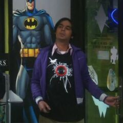 Raj walking in playing Darth Vader music from his shirt.