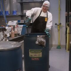 Barry scrubbing out irradiated grease.