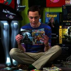 Sheldon hiding out at the comic book store.