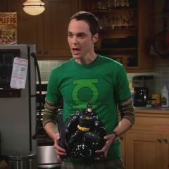 Sheldon and his new Batjar cookie jar.