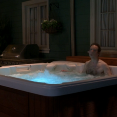 Stuart trespassing in their hot tub.