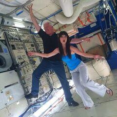 Alex Jensen clowning around on Howard's space station set.