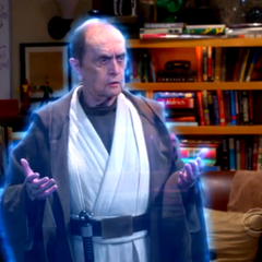 Arthur Jeffries visiting Sheldon as Obi-Wan.