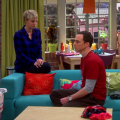 Penny helping Sheldon let it go.