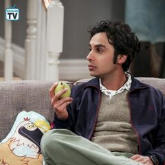 Raj sees what Amy is doing.