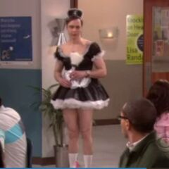 Sheldon dresses up as a French maid in order to meet Stephen Hawking.