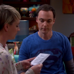 Reading the first question to Sheldon.