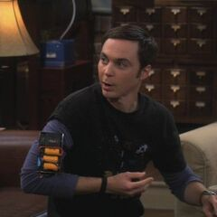 Sheldon working on a prank.