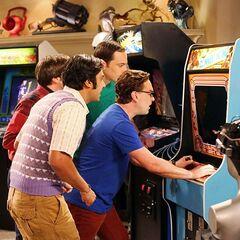Leonard playing the Donkey Kong game of his life.