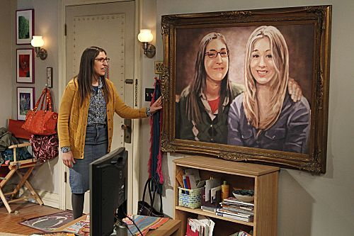 The painting ends up with Sheldon and Amy