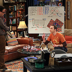 Sheldon with Leonard looking at three-person chess.
