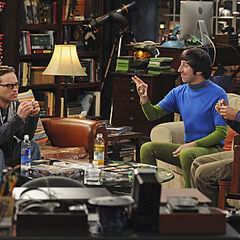 Howard, Raj and Leonard in his apartment.