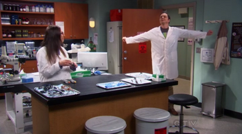 Sheldon getting ready to work in Amy's lab