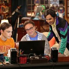 Sheldon, Leonard and Raj video chat with Howard in space.