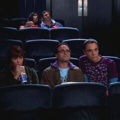 Sheldon horns in on their date.