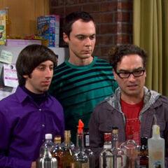 Howard, Sheldon and Leonard are shocked as Raj speaks.