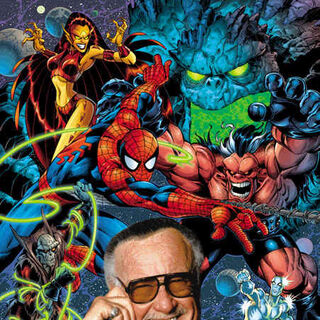 Stan Lee and his creations.