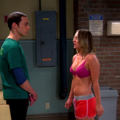 Penny trying to seduce Sheldon in Amy's