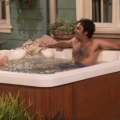 Howard and Raj in the hot tub.