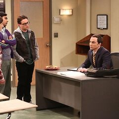 Sheldon has to teach a class.