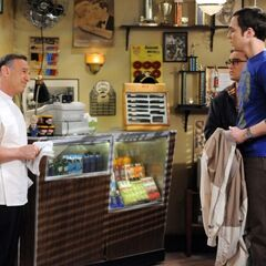 Sheldon with Leonard at the barber shop, only to discover that his usual barber is not there.