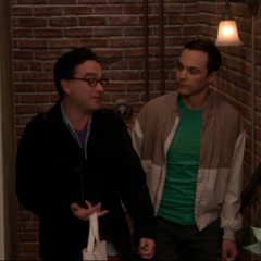 Sheldon asking Leonard about his show size.