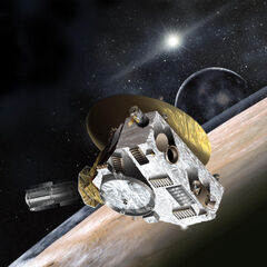 The New Horizons space probe heading to Pluto.