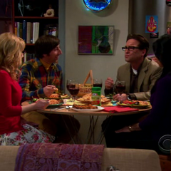Howard and Bernadette having dinner with Leonard and Priya.