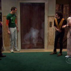 The elevator explodes after Sheldon saved Leonard in 2003.
