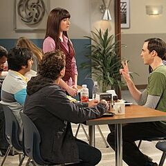 Sheldon, Leonard and Raj with Alex at the cafeteria.