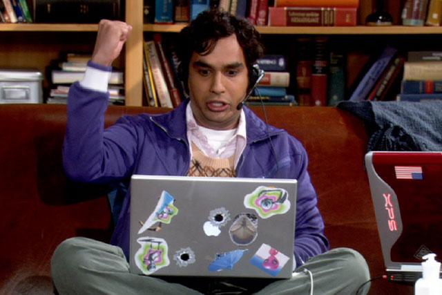 File:Raj playing on his PC.jpg