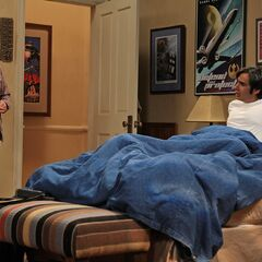 Leonard finds Raj in his bed.