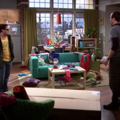 Penny's messy apartment.