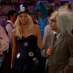 Dressed up for Halloween as sexy cop and Albert Einstein.