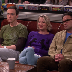 Sheldon, Penny and Leonard watching Raj and Howard play their song.
