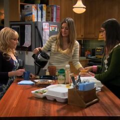 Penny's Posse at Leonard and Sheldon's apartment.