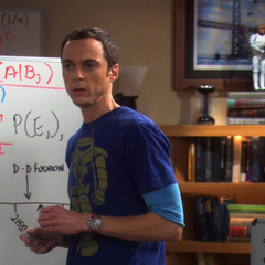 Sheldon at his whiteboard.