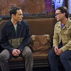 Leonard trying to talk Sheldon out of leaving.