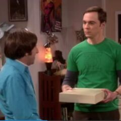Sheldon cleaning Howard's belt buckles for a chance to meet Stephen Hawking.