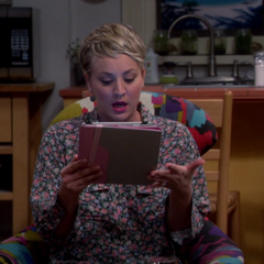 Penny engrossed in Amy's fan fiction story.