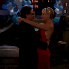 Leonard and Penny dancing.
