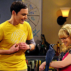 Sheldon freaked out when Bernadette asked him to pet the bird.