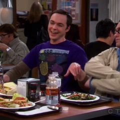 Having lunch in the cafeteria.