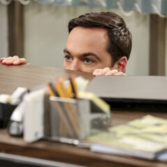 Sheldon hiding from reporters.