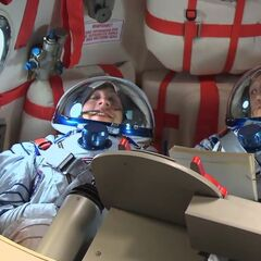 Howard in the Russian Soyuz spacecraft on the way to the ISS.