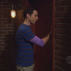 Sheldon knocks on Raj's door.
