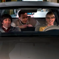 Bernadette taking Howard and Sheldon to the airport.